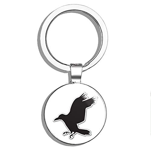 (1080 Graphics Raven Metal Round Metal Key Chain Keychain Ring)