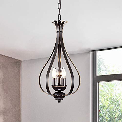 Chandeliers Vintage Chandelier Lighting Bronze Hanging Light Fixture Industrial Pendant Light 3 Lights