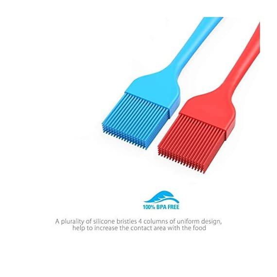 Verigle Silicone Basting Brush Heat Resistant Food Grade for for BBQ Grill Barbecue Baking Kitchen Cooking, 8.3 inch, Red&Blue 2 【SAFE】Brush surface coated with high quality food grade silicone, FDA approved, does not contain BPA.Pastry brush resistance temperature to 446 ℉ (230 ℃.So you can apply food, even when grilling and brushing won't melt or shrink. 【GREAT EXPERIENCE】the multi-layer silicone bristles have gaps in the center to better hold the liquid as it moves from the bowl to the food. 【SEAMLESS DESIGN】Unlike other bristles, silicone bristles do not break or fall off in food.Specially designed to avoid the brush head from falling off or becoming loose when applied.Silicone brushes do not stick to bacteria.No stains.