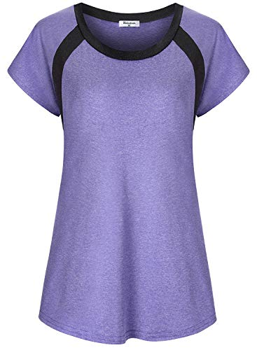 Bobolink Activewear Tops Women, 3X Plus Size 80S Workout Boat Neck Short Sleeve Yoga Tunic Purple Gym Shirts XXXL Knits Tees Sports Running Clothes Stretchy Performance Ladies Exercise Clothing