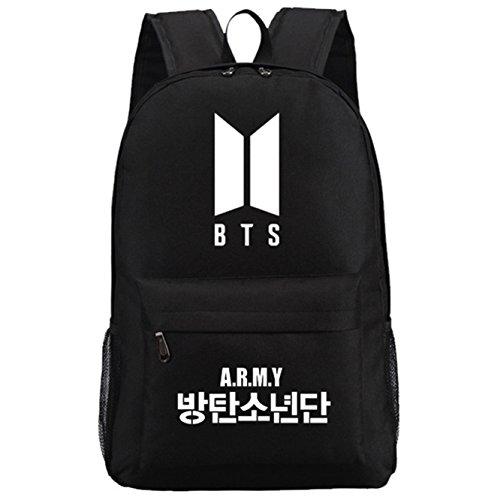 JUSTGOGO Luminous Korean Casual Backpack Daypack Laptop Bag College Bag School Bag (Black) by JUSTGOGO (Image #1)