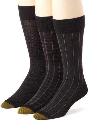 Gold Toe Men's Microfiber Fashion 3 Pack Sock, Black, Shoe Size 6-12.5