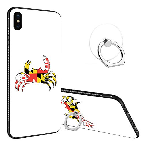 iPhone Xs MAX Case Tempered Glass Back Cases, Fashoin Design Maryland Crab Soft TPU Bumper Frame Case for Apple iPhone Xs ()