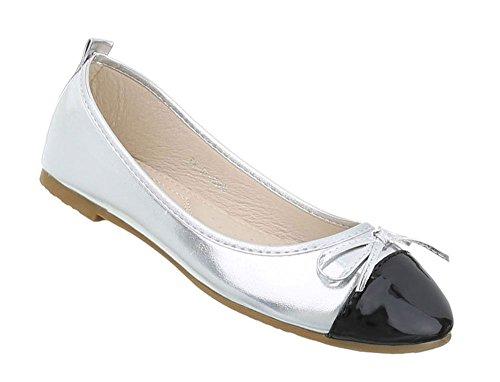 Schuhcity24 Damen Schuhe Ballerinas Blockabsatz Silber