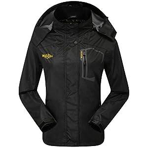 Wantdo Women's Sports Outdoor Hooded Softshell Rain Jacket Waterproof Jacket XL