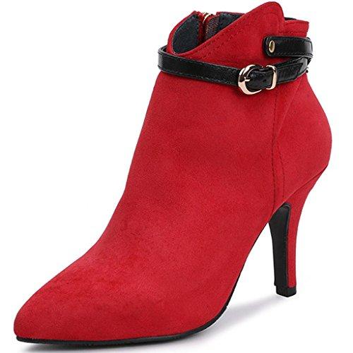 Inverno E nudi RED stivali Pelle Stivali femminili nudi alti 37 con Stivali Fine opaca Tacchi 41 appuntito Autunno Donne Stivali Red SEgwnq6x5H