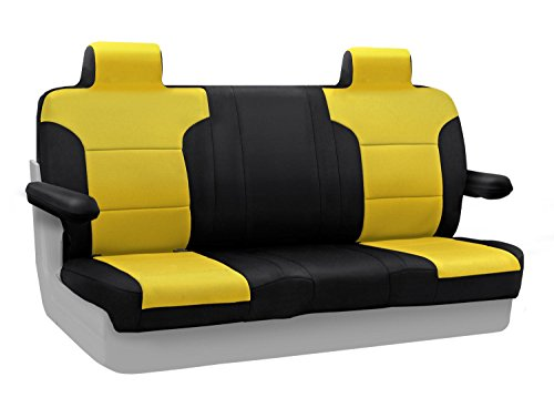 Coverking Custom Fit Rear Solid Bench Seat Cover for Select Lincoln Town Car Models - Neoprene (Yellow with Black Sides) ()