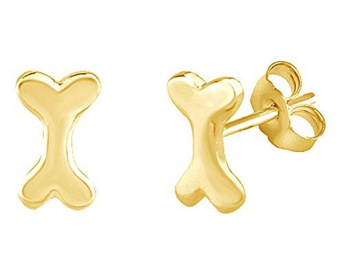 Dog Bone Stud Earrings In 14K Yellow Gold Over Sterling -