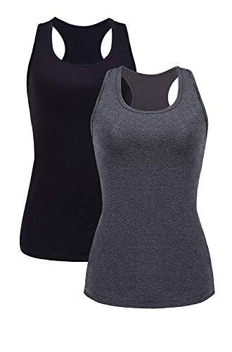 Vegatos Women Cotton Tank Top Racerback Solid Sleeveless Cami Vest Black/Gray M