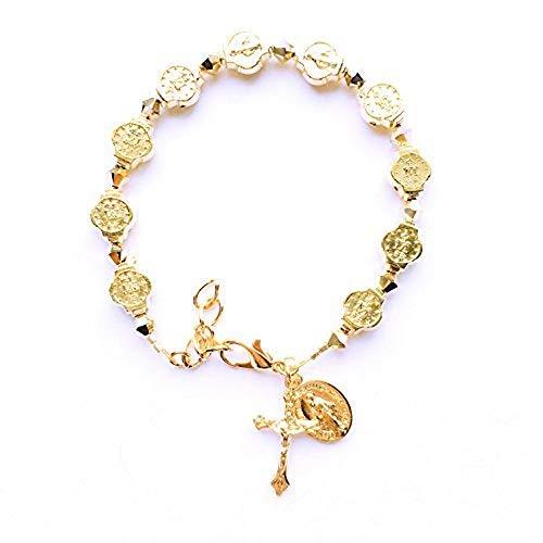 Rana Jabero Gold Swarovski Crystal Miraculous Medal Crucifix Cross Charm Religious Bracelet