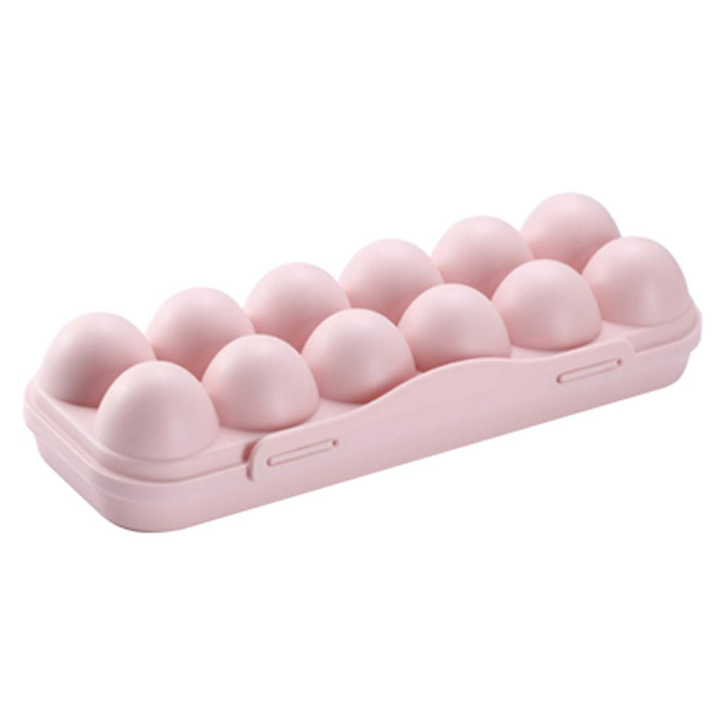 Hstore Box Buckle-Type superimposable Egg Storage Box with lid Egg Tray Holder Refrigerator Crisper Storage Container (30x11x6.5cm, Pink) by Hstore (Image #1)
