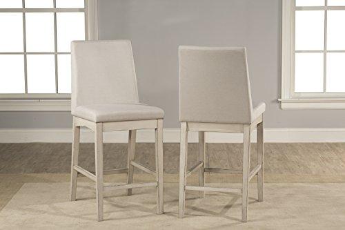 Non Swivel Stool Set - Hillsdale Furniture 4542-824 Hillsdale Clarion Parson Height, Set of 2, Sea White Non-Swivel Counter Stool Set