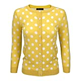YEMAK Women's Polka Dot Cute Jacquard Crewneck Button Down Sweater Cardigan MK3104-YEL-S Yellow