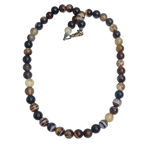 Satin Crystals Agate Botswana Necklace Boutique Round Brown Black Genuine Gemstone Handmade Beaded Unique Banded B01 (16)