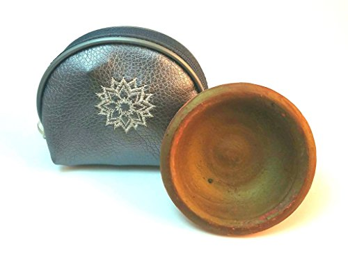 Moroccan Clay Pot Lip and Cheek Stain – Totally - Organic with designer Brush applicator. Includes Handmade Artisan Key chain Bag. (Silver Keychain Bag) by Zone - 365