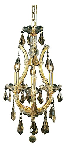 Elegant Lighting 2801D12G-Gt/Ss Swarovski Elements Smoky Golden Teak Crystal Maria Theresa 4-Light, Single-Tier Crystal Chandelier, Finished in Gold with Smoky Golden Teak Crystals ()