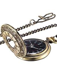 Vintage Pocket Watch Steel Men Watch with Chain (Bronze)
