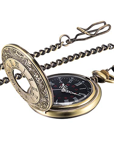 Hicarer Vintage Pocket Watch Steel Men Watch with Chain (Bronze)