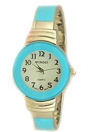 Women's Classic Chrome and Blue Bangle Cuff Watch