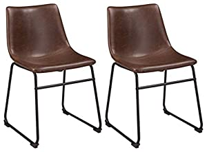 picture of Ashley Furniture Signature Design - Centiar Dining Chairs - Set of 2 - Mid Century Modern Style - Black Metal Base - Brown Faux Leather Bucket Seat