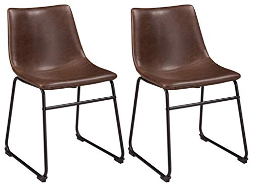 Faux Leather Metal - Ashley Furniture Signature Design - Centiar Dining Chairs - Set of 2 - Mid Century Modern Style - Black Metal Base - Brown Faux Leather Bucket Seat