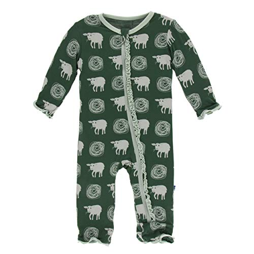 Kickee Pants Little Girls Print Muffin Ruffle Coverall with Zipper - Topiary Tuscan Sheep, 18-24 Months