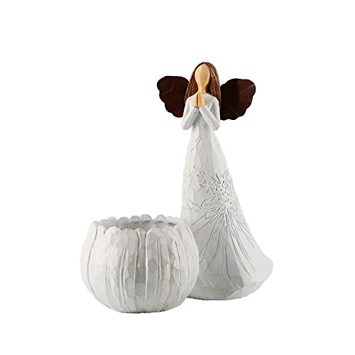 Resin Angel Imitation Wood Grain Intaglio Plant Pattern Flower Pot Angel Statue for Home Garden Decoration (001-1620206B1)