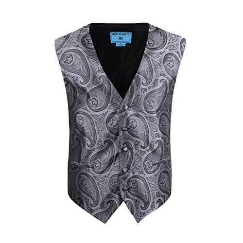 Epoint Mens Fashion Classic Paisley Microfiber Waistcoat Pre-tied Bow Tie Set
