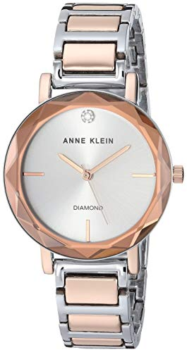 Anne Klein Women's AK/3279SVRT Diamond-Accented Silver-Tone and Rose Gold-Tone Bracelet Watch