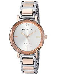 Women's AK/3279SVRT Diamond-Accented Silver-Tone and Rose Gold-Tone Bracelet Watch