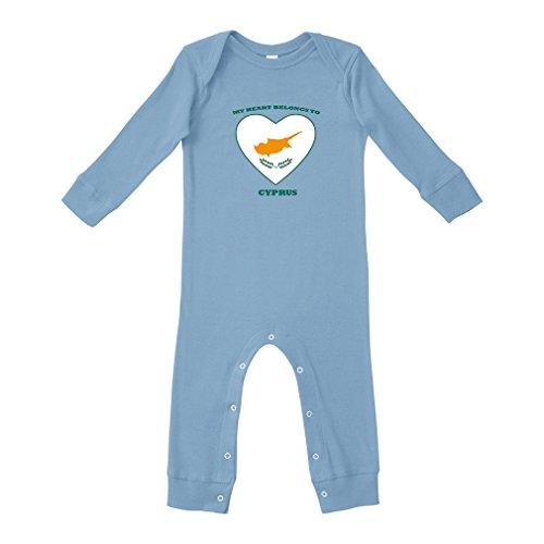 Love Soccer Heart Cyprus Style 1 Cotton Long Sleeve Envelope Neck Unisex Baby Legged Long Rib Coverall Bodysuit - Light Blue, 24 Months Cyprus One Light