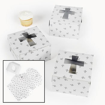 Cupcake Boxes With Crosses - Sunday School & Party Supplies