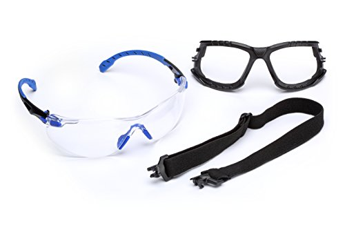 3M Solus 1000 Series Protective Eyewear Kit with Foam, Strap, Clear Scotchgard Anti-fog Coating, One Size Fits Most, Blue/Black ()