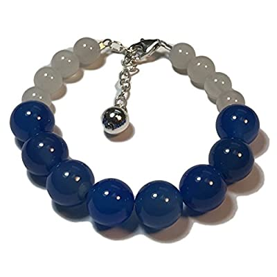 "Cheap Gratitude Bead Bracelet: Natural Agate Gemstones and Sterling Silver ""Gr8ful"" Charm in Blue, Grey and Black for cheap"