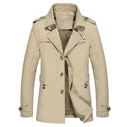 Windproof Jackets Autumn Fleece Casual Turn Mode Coatsmens Winter Outerwear Long Adelina Cotton Hooded Block Color Cozy Men's Jacket Khaki Front Jacket Jacket with Loose Helles Lasting Down Cozy xqBfnnSw6