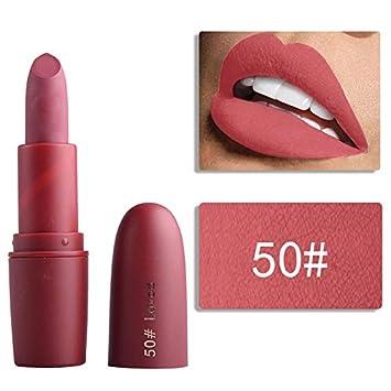 Amazon.com   Matte Lipstick Batom Mate Makeup Waterproof Sexy Red Lip Tint  Mate Long Lasting Nude Pigment Vitamin Velvet Lip Stick 50   Beauty 593d67d345c4