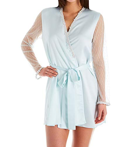 Flora Nikrooz Showstopper Charmeuse Wrap Robe with Venise Lace (8061) S/Seaglass ()