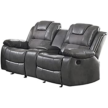 Homelegance Taye Glider Double Recliner Loveseat with Center Cup holders Storage Console Leather Gel Matched Microfiber  sc 1 st  Amazon.com & Amazon.com: Homelegance 9668BRW-2 Double Glider Reclining Loveseat ... islam-shia.org