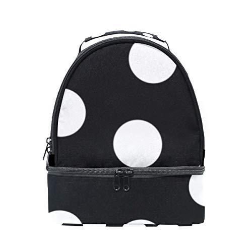 Folpply Blanc Noir Polka Dot Lunch Sac isotherme Cooler Tote Box avec bandoulière réglable pour Pincnic à l'école