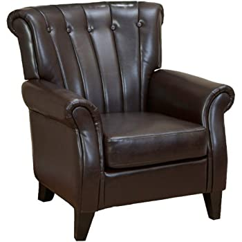 Haywood Brown Leather Channel-backed Club Chair