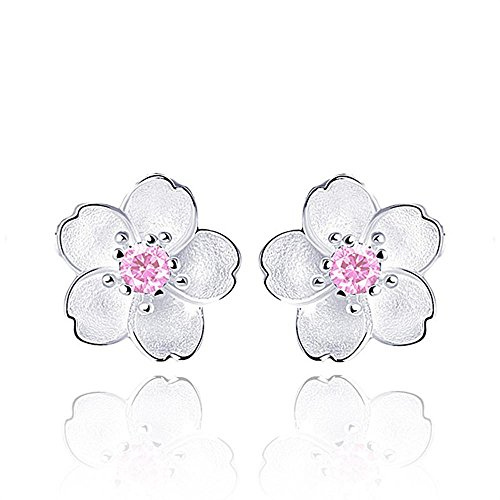 - Women Sterling Silver Hawaiian Plumeria Flower Cubic Zirconia Stud Earrings (Pink)