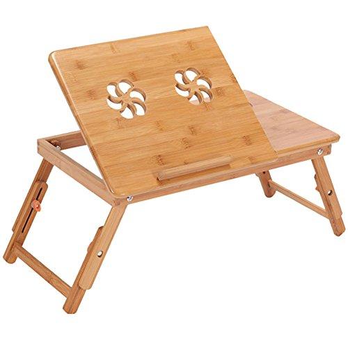 B BAIJIAWEI Adjustable Laptop Desk Table 100% Bamboo with USB Fan Foldable Breakfast Serving Bed Tray w' Drawer by B BAIJIAWEI