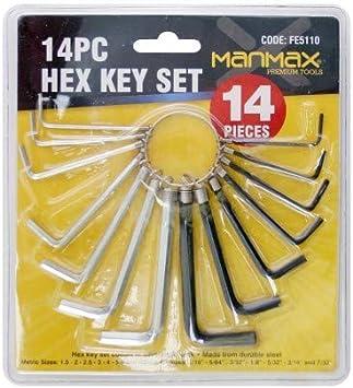 14pcs Metric Imperial Hex Hexagon Allen Alan Key Wrench DIY Set Hex Key Set