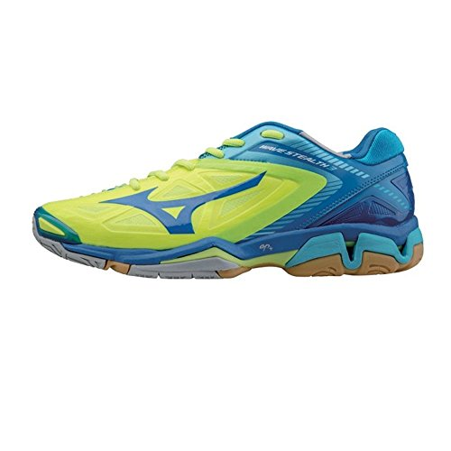 Mizuno Hombre Ondulado Cautela 3 Balonmano Zapatos - Azul - Azul (NeoYellow/azul/BlueAtoll), hombre, 43 EU/9 UK