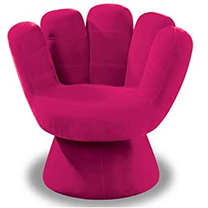 Lumisource plush mitt chair hot pink kitchen for Hand shaped bean bags