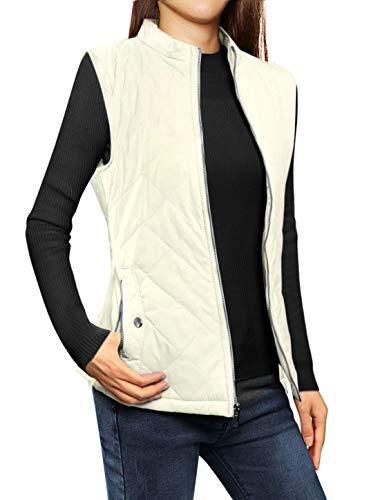 Allegra K Women's Stand Collar Lightweight Gilet Quilted Zip Vest Vanilla Large
