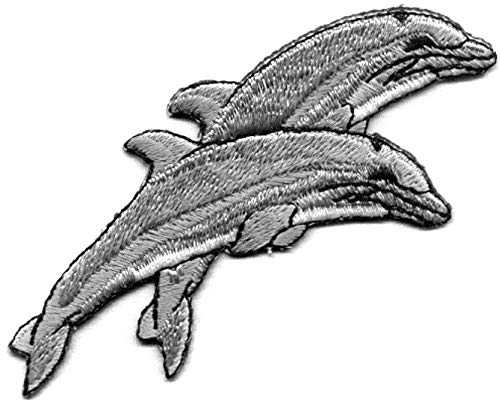 Fish-Dolphins Double Heat Seal Applique Actual Size: 3 3/4 X 2 inch -