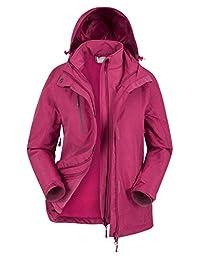 Mountain Warehouse Bracken Melange Womens 3 in 1 Jacket - Summer Coat Berry 12