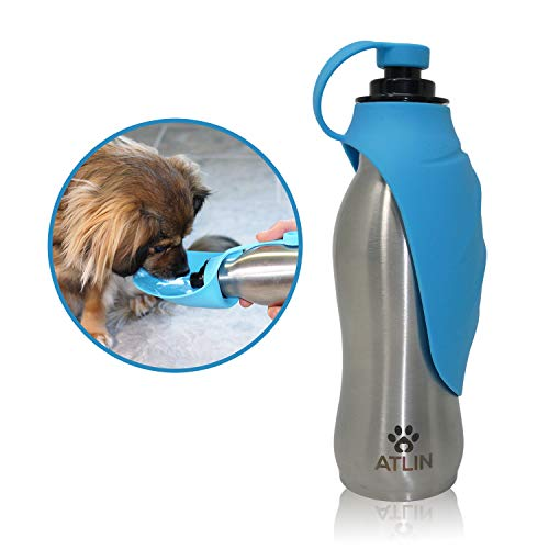ATLIN Dog Water Bottle - 304 Stainless Steel and Silicone - Leak-Proof Dog Bottle is Great for Walking, Hiking, Running and The Dog Park - 20 oz for Large, Medium or Small Dogs ()