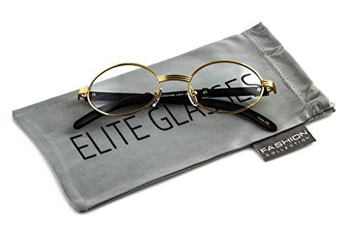 dd47dec253 Elite WOOD Art Clear Lens Eyeglasses Unisex Vintage Fashion Oval Frame  Glasses (Gold